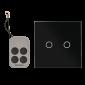 Intrerupator dublu cu actionare la atingere (touch), cu 2 butoane si telecomanda RF, negru