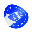 Tag NFC autoadeziv, rotund, albastru