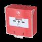 Buton iesire de urgenta aplicabil, cu 3 comutatoare NC-COM-NO, din plastic, rosu